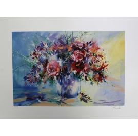 Bouquet de roses et chevrefeuille