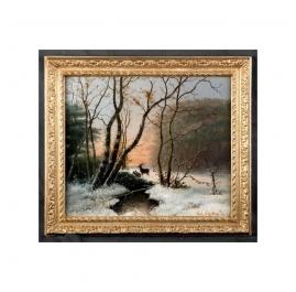 Bosgezicht in Winter met ondergaande Zon