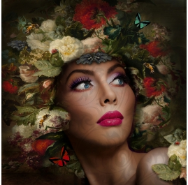 Portrait with Flowers and Butterflies