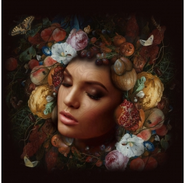 Portrait with Flowers and Pumpkins