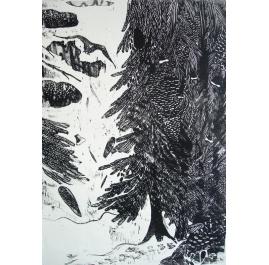 Winterlandschaft mit Tanne