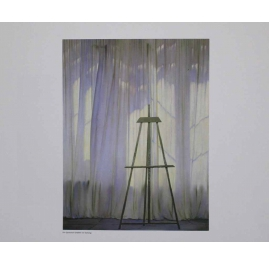 Easel in front of curtain