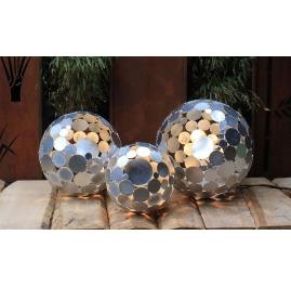 "Outdoor Lamp - ""Globe"" galvanised - contemporary garden ornament - set of three"