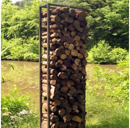 """Outdoor Furniture - """"Firewood Rack"""" - unique garden ornament for wood stove"""