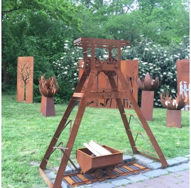 German Ruhr Area Mining Tower - Outdoor Barbecue Charcoal Grill- Garden Ornament