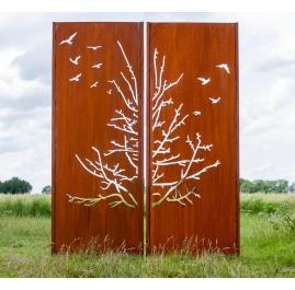 """Steel Garden Wall - """"Diptych Birds"""" - Modern Outdoor Ornament - 150×195 cm"""
