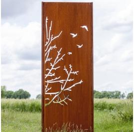 "Steel Garden Wall - ""Birds II"" - Modern Outdoor Ornament - 75×195 cm"