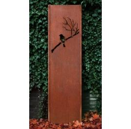 """Steel Garden Wall - """"Bird"""" - Modern Outdoor Ornament - 54×195 cm"""