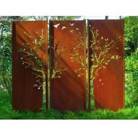 "Steel Garden Wall - ""Triptych Tree"" - Modern Outdoor Ornament - 225 x 195 cm"