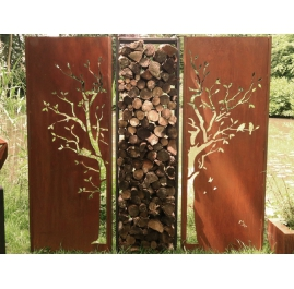 """Steel Garden Wall - """"Diptych Tree with Firewood Rack"""" - Outdoor Art - 205×195 cm"""