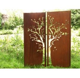"Steel Garden Wall - ""Diptych Tree"" - Modern Outdoor Ornament - 150 x 195 cm"