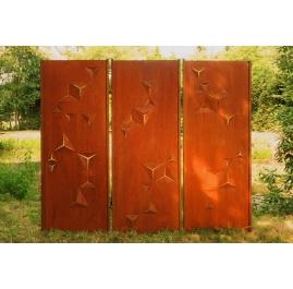 "Steel Garden Wall - ""Triptych Triangles"" - Modern Outdoor Ornament - 225×195 cm"
