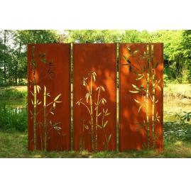 """Steel Garden Wall - """"Triptych Bamboo"""" - Modern Outdoor Ornament - 225×195 cm"""