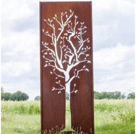 "Steel Garden Wall - ""Tree"" - Modern Outdoor Ornament - 75×195 cm"