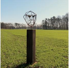 Outdoor wire sculpture - Wire Mask on a oxidised oak pedestal - unique ornament