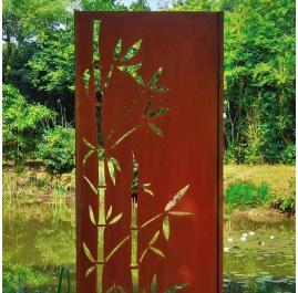 """Steel Garden Wall - """"Bamboo"""" - Modern Outdoor Ornament - 75 × 195 cm"""