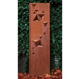 "Steel Garden Wall - ""Triangles"" - Modern Outdoor Ornament - 54 × 195 cm"