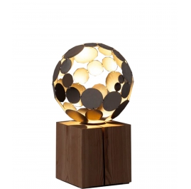 """Contemporary Sculpture - """"Globe Lamp"""", rusted on an oak pedestal - Small Height"""