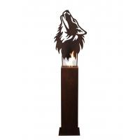 """Steel Column and Garden Torch """"Wolf"""" Handmade & Unique Art"""