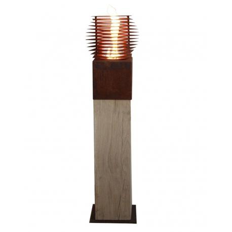 """Oak Column & Garden Torch """"Cube"""" - Straight - Handmade Art Object"""
