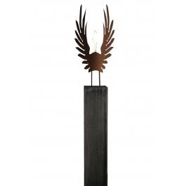 """Eichenholzsäule und oxidierte Gartenfackel """"Wings"""" - Handarbeit - einzigartiges Kunstobjekt"""