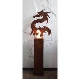 """Stahlsäule und Gartenfackel """"Drache"""" Handgefertigtes einzigartiges Kunstobjekt Dekoration"""