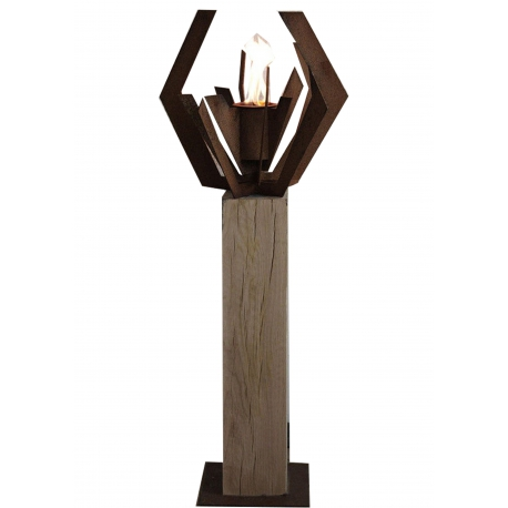 "Oak Column and Garden Torch ""Nature"" - Angled - Handmade - unique art object"