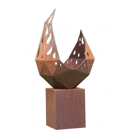 """Firepit """"Drop"""" With Angled Pedestal - Small"""