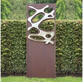 """Stahl-Gartenmauer - """"Stainless Steel III"""" - moderne Außenverzierung - 75×195 cm"""