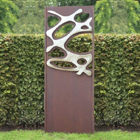 "Steel Garden Wall - ""Stainless Steel III"" - modern outdoor ornament - 75×195 cm"