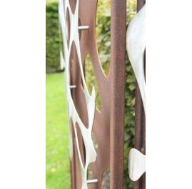"Steel Garden Wall - ""Stainless Steel I"" - modern outdoor ornament - 75×195 cm"