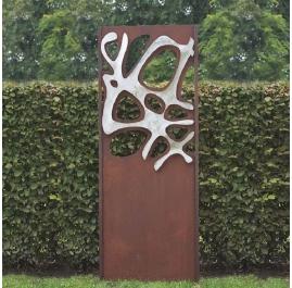"Steel Garden Wall - ""Stainless Steel II"" - modern outdoor ornament - 75×195 cm"