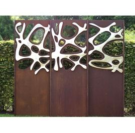 "Stalen Tuinmuur - ""Triptychon Roestvrij Staal"" - openluchtornament - 225×195 cm"